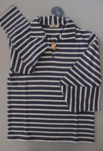 Sweat shirt rayé bleu marine et blanc (forme vareuse) batela