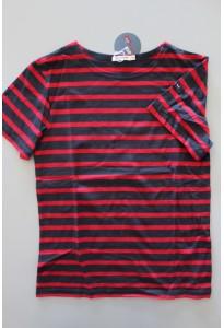 Tee-shirt MC rayé bleu marine et rouge Batela