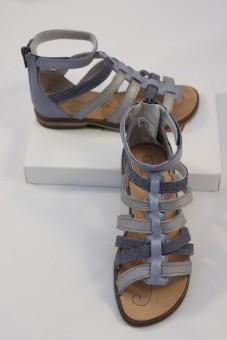 Nu-pieds Idaline bleu-argent, spartiates TTY Babybotte
