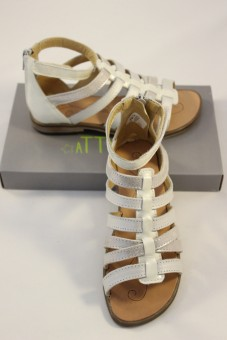 Nu-pieds Idaline blanc métallisé, spartiates TTY Babybotte