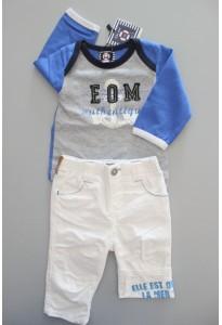 Tee-shirt ML gris et bleu & Pantalon blanc Elle est où la mer