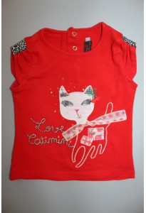 Tee-shirt MC rouge, chat Catimini