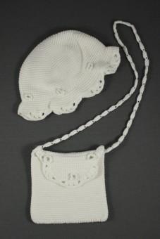 Chapeau blanc maille 12-18 mois et sac La Redoute