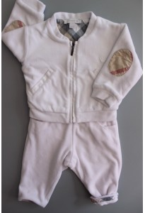Gilet et pantalon velours blanc, coudières motifs check Burberry