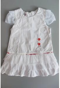 Robe blanche, volants Clayeux