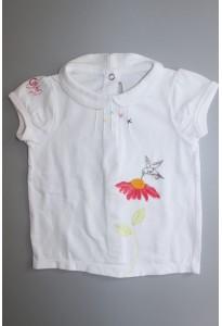 Tee-shirt MC blanc, fleur et oiseau Orchestra