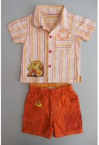 Chemisette rayée et bermuda orange, tigre