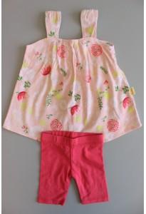 Robe fleurie et leggings fuchsia Sucre d'Orge