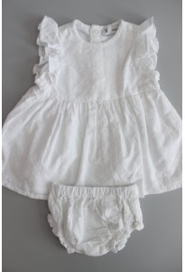 Robe blanche, dentelle anglaise, et bloomer La Redoute