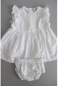 Robe blanche, dentelle anglaise, et bloomer La Redoute
