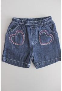 Short jean bleu, coeurs Tissaia
