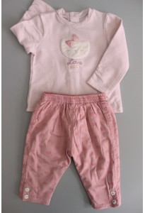 Tee-shirt ML et pantalon roses, chat Sucre d'Orge