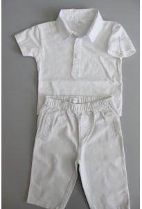 Polo MC et pantalon rayé blancs Kiabi
