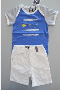 Tee-shirt MC bleu et bermuda blanc Elle est où la mer