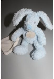 Doudou lapin bleu avec mouchoir Baby Nat
