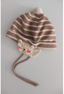 Bonnet polaire rayé beige et marron, chat DPAM