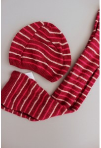 Bonnet et écharpe rayés bordeaux Okaidi