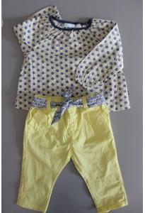 Blouse imprimée et pantalon jaune Obaibi