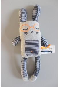 Doudou lapin gris avec lunettes TAO