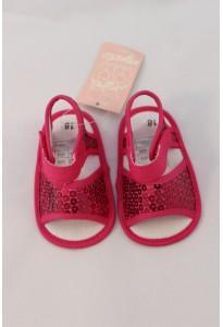 Bottons-Sandalettes fuchsia à paillettes Mignolo