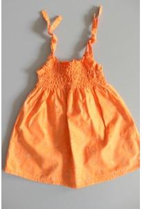 Robe smockée orange