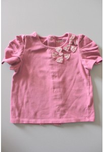 Tee-shirt MC vieux rose, noeuds Vertbaudet