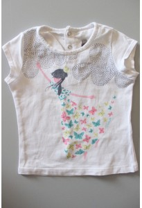 Tee-shirt MC blanc, fille et papillons Catimini