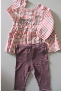 Tunique à carreaux et leggings prune dpam