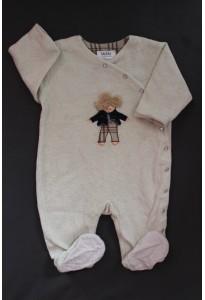 """Sur-pyjama blanc cassé """"ours"""" 12 mois Baby Dior"""