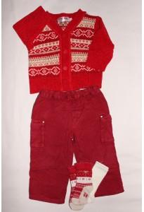 Gilet rouge-beige, pantalon et chaussettes 12 mois Clayeux