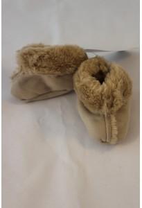 Bottines suédine et fausse fourrure beige, naissance-1 mois Berlingot