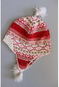 Bonnet péruvien rouge et écru Clayeux