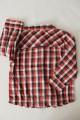 Chemise à carreaux rouge, noir et blanc, col mao TAO