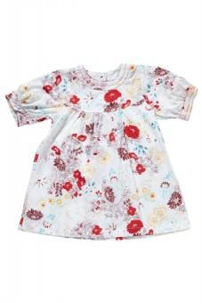 """Robe blanche et rouge """"fleurs"""" Clayeux"""