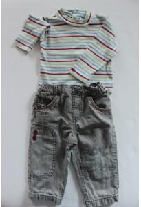 T-shirt rayé et jean doublé gris clair Alphabet