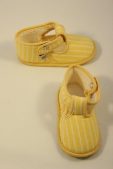 Bottons-chaussures jaune rayé blanc Clayeux