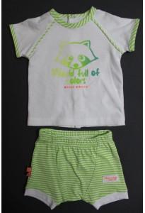 """Tee-shirt et short blanc et vert rayé, """"raton laveur"""" Sucre d'Orge"""