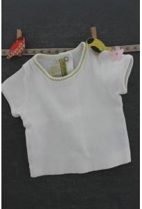 Tee-shirt blanc, fleur rose Orchestra