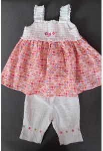 Tunique fleurie et pantalon blanc Catimini