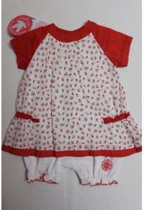 """Barboteuse-robe rouge et blanche, """"petites fleurs"""" Sucre d'Orge"""