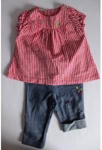 """Jean léger et blouse vichy rouge, """"radis et coccinelles"""" DPAM"""