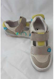 Chaussures semi-ouvertes Kaplan beige, turquoise et anis Babybotte