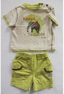 "Tee-shirt et short vert, ""éléphants d'Afrique"" Sucre d'Orge"