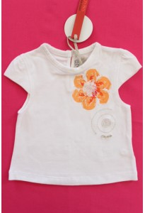 Tee-shirt blanc, fleur orange Clayeux