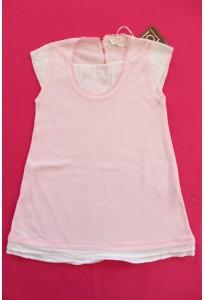 Robe coton rose ajouré et plumetis blanc Clayeux