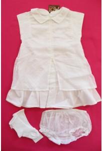 Robe légère, bloomer plumetis blanc et chaussettes Clayeux