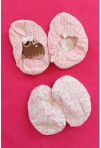 Bottons réversibles, vichy rose-blanc et fleuri 6-12 mois Clayeux