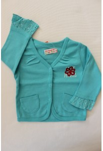 Gilet turquoise, dentelle anglaise LCDP
