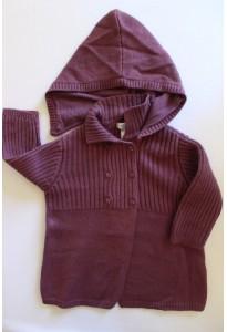 Manteau à capuche, lainage prune Obaibi
