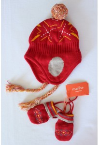 Bonnet péruvien et moufles rouges, 12-18 mois Marèse